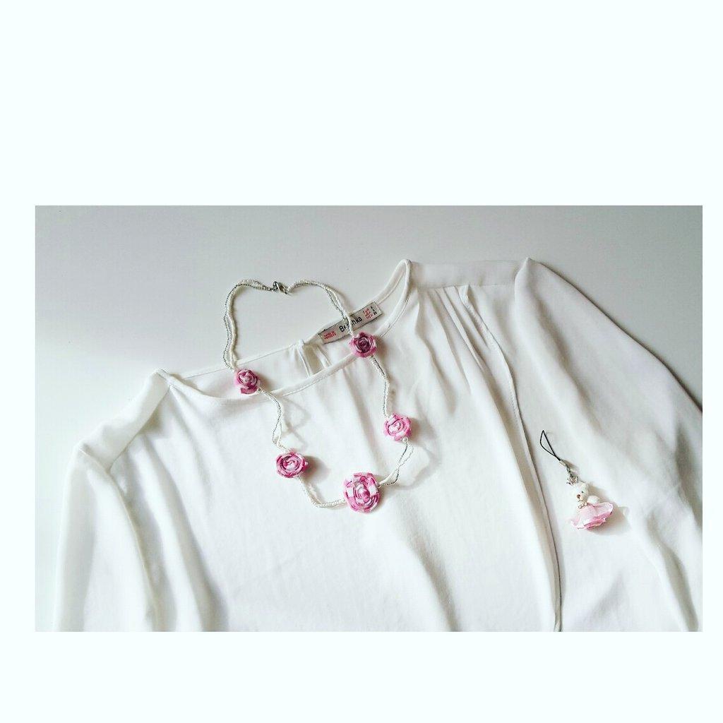 Collana stoffa rosa