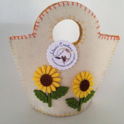 Borsetta in feltro bianco con girasoli