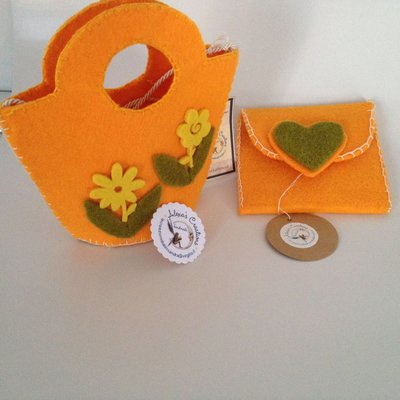 borsetta in  feltro colorate e personalizzabili