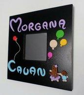 Sorella e fratello cornice specchio Malma con nomi e palloncini in fimo personalizzata