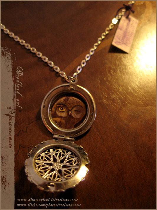 Owl locket necklace - collana illustrata