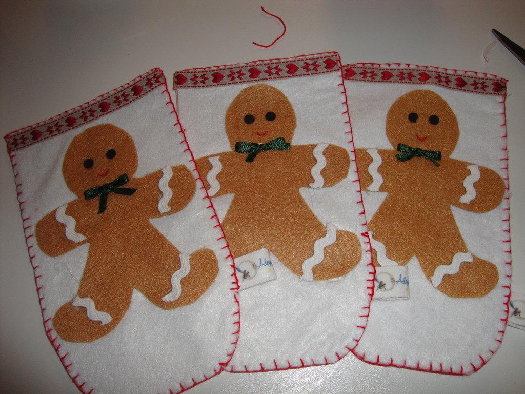 porta posate natalizio con omino di pan di zenzero in feltro e pannolenci