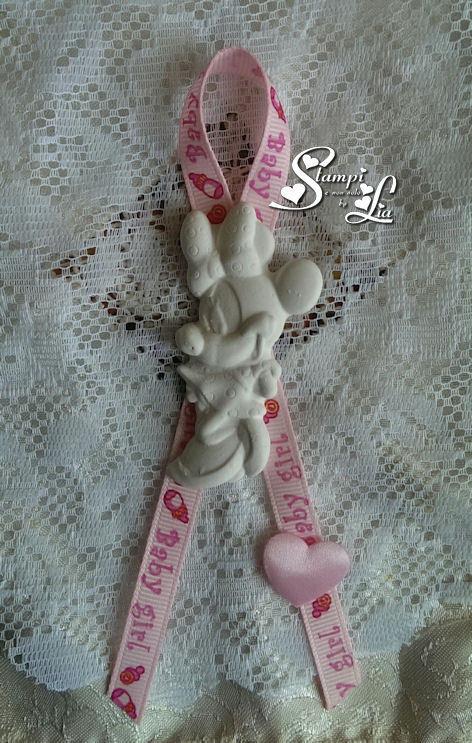 10 pezzi - Segnaposto *Minnie con cuoricino soffice di raso*
