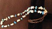 collana lunga  in rame, e pietre,turhese e corallo bianco