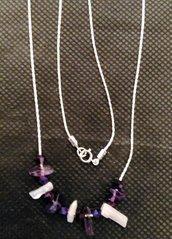 catenina cobra in  argento 925 , con  perline  di ametista.