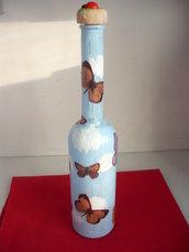 bottiglia vetro con farfalle