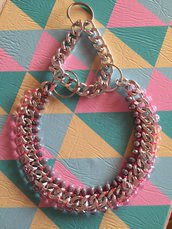 Collare per cani con catena e pietre lilla e rosa