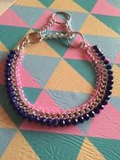Collare per cani con catena e pietre blu e rosa