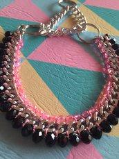 Collare per cani con catena e pietre nere e rosa