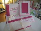 Completo scatola album cornice e bavaglie