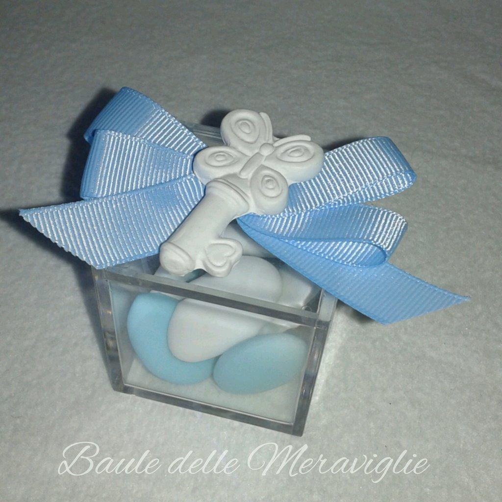 Bomboniera nascita battesimo bimbo scatolina in plexiglass con gessetto profumato