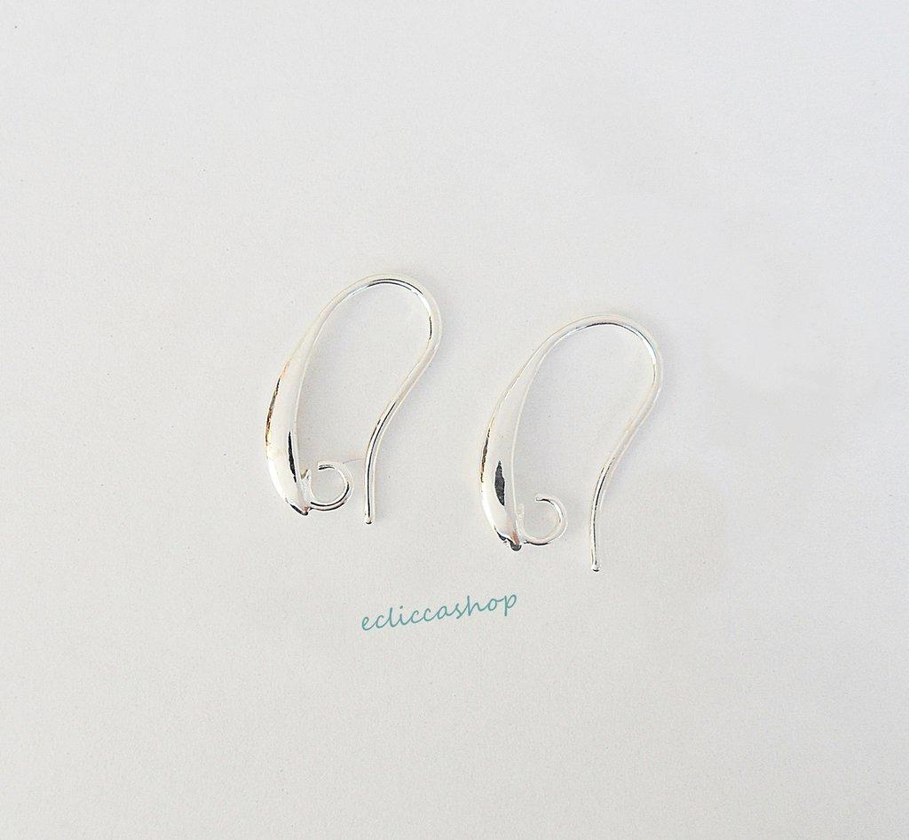 Base orecchini  in Ottone colore argento 1coppia