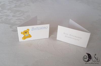 Bigliettini per bomboniere battesimo orsetto per bimbo
