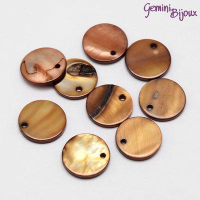 Lotto 10 zecchini di madreperla naturale marrone mm.15x2