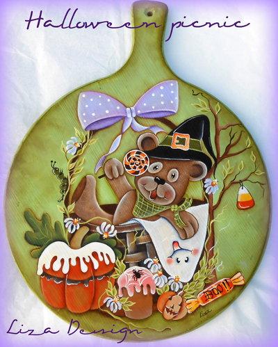 Tagliere con orsetto goloso.Tema Halloween