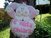 FIOCCO NASCITA / O BABY ON BOARD CONIGLIETTO CON CUORE