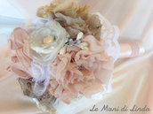 Bouquet shabby chic romantico rosa avorio ecru