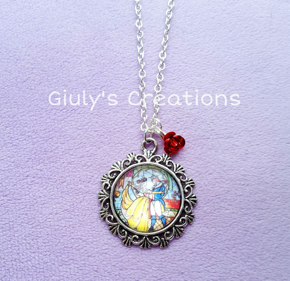 Collana cammeo LA BELLA E LA BESTIA Beauty and the Beast Cartoni Animati Rosa Incantata Anime