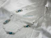 Collana catena cobra con perle argentate e azzurre