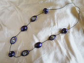 Collana con perle viola e argento