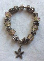 Stupendo bracciale moda con charms in argento tibetano e pietre gioiello