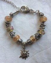 Stupendo bracciale moda con charms in argento tibetano e pietre dure