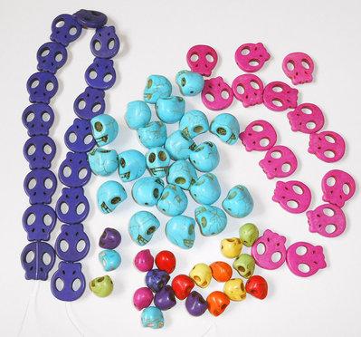 Lotto perle miste a forma di teschio 73 pezzi