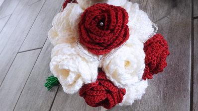 Bouquet Sposa Uncinetto Rose Peonie Matrimonio