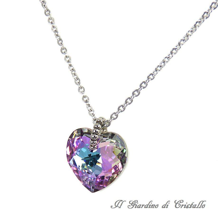 Collana in acciaio cuore di cristallo Swarovski Vitrail Light 18 mm fatta a mano - Begonia