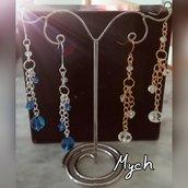 Orecchini pendenti Blu e argento/Bianco e oro