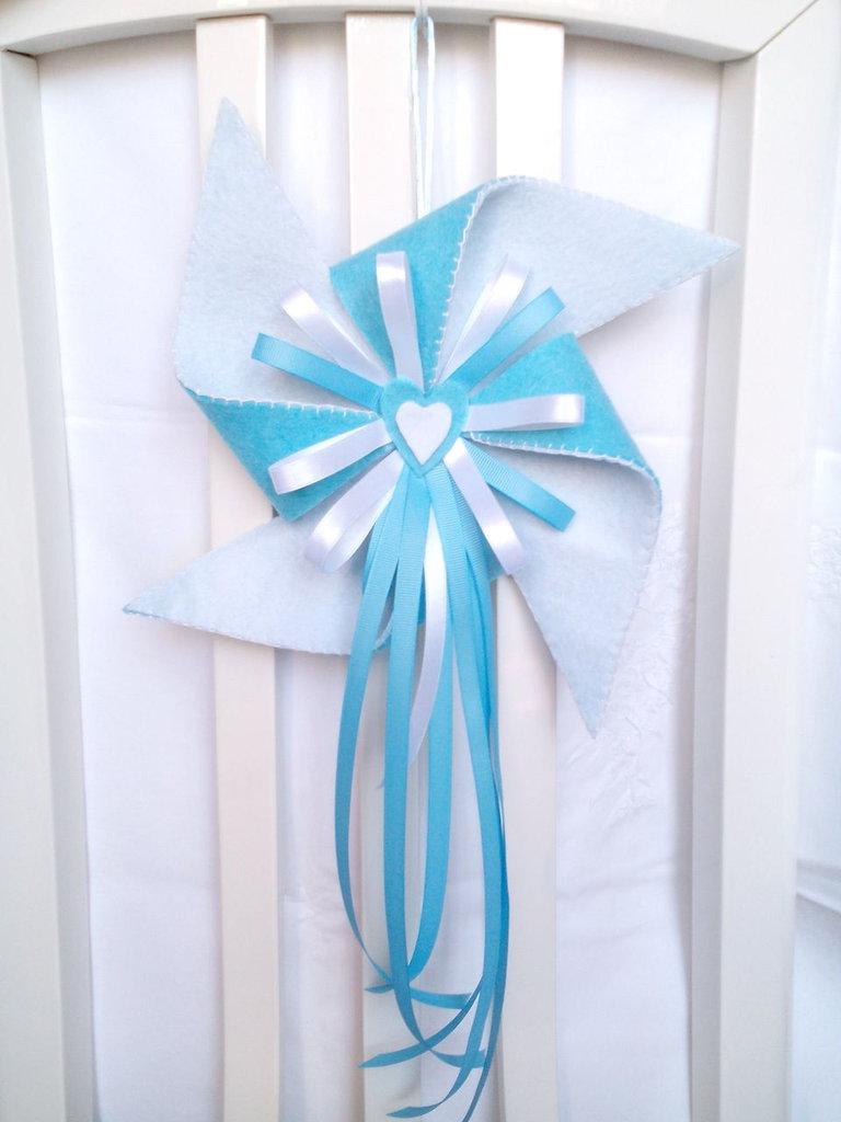 fiocco nascita azzurro in feltro