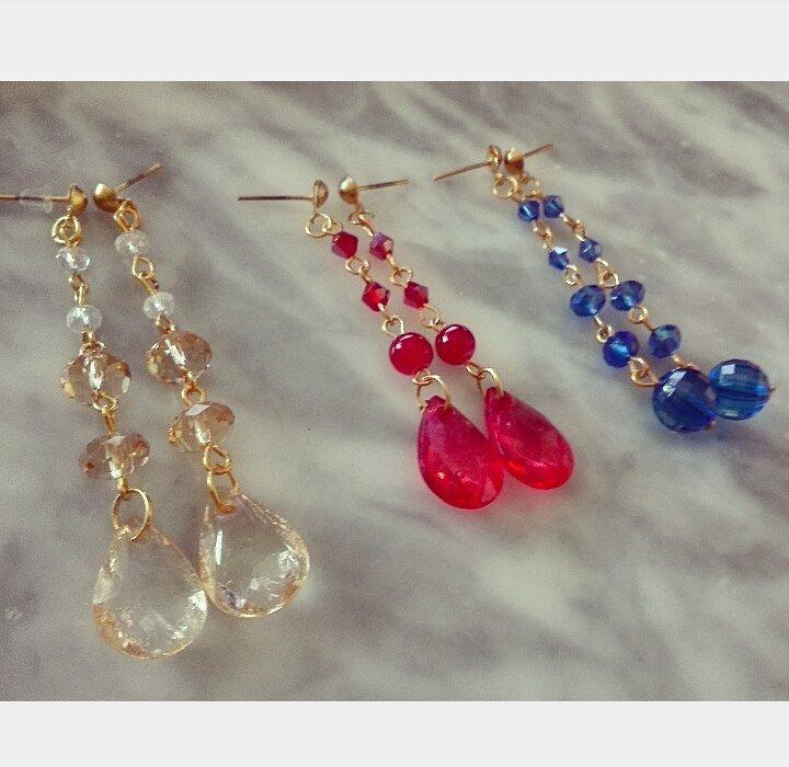 Orecchini pendenti Blu/Rossi/Gialli