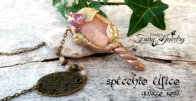 Collana quarzo rosa specchio elfico bosco fata magico bronzo druido