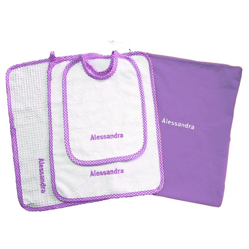 Set asilo 4 pezzi lilla tovaglietta bavaglino sacca asciughino salvietta ricamo nome bimbo personalizzato