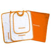 Set asilo 4 pezzi arancio tovaglietta bavaglino sacca asciughino salvietta ricamo nome bimbo personalizzato