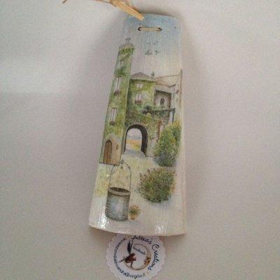 tegola paesaggio decorata a decoupage