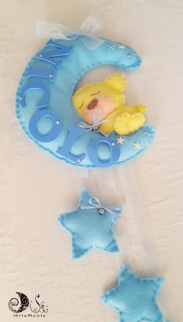 Fiocco nascita luna e stelle con orsetto custode dei sogni per bimbo