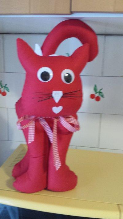 Gatto ferma porta rosso alto  35 cm.
