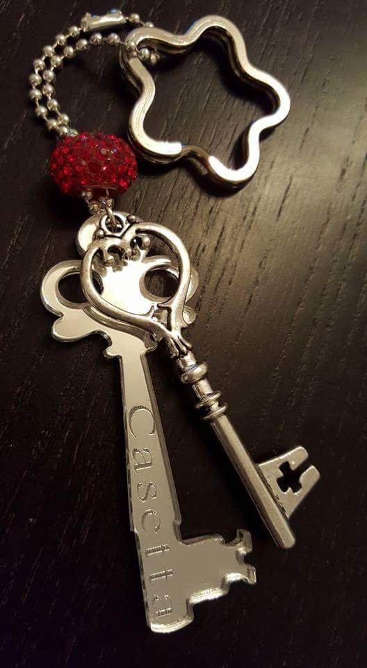 portachiavi 'la chiave' - argento specchiato