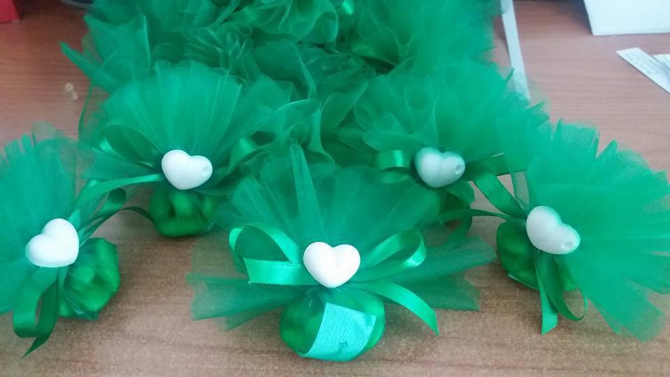 bomboniera cuore con tulle verde