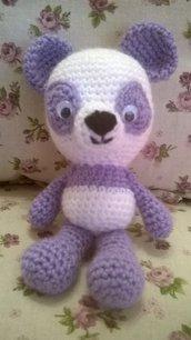 """panda bianco e lilla """"amigurumi"""", idea regalo"""
