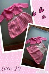 Completo bimba abitino smanicato e coprispalle rosa e bianco 6 mesi