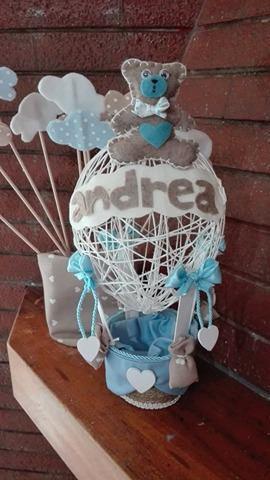 fiocco nascita con mongolfiera realizzata a mano  in spago