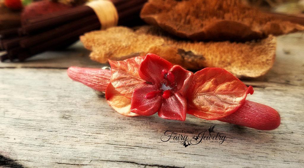 Fermacapelli gioiello capelli elfico foglie fatto a mano in fimo pasta polimerica rosso fiore