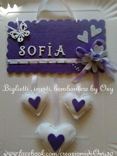 Targa fuoriporta in color viola e bianco