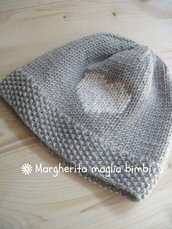 Berretto pura lana merino superwash con cuore ricamato - berretto bambino - cappello neonato