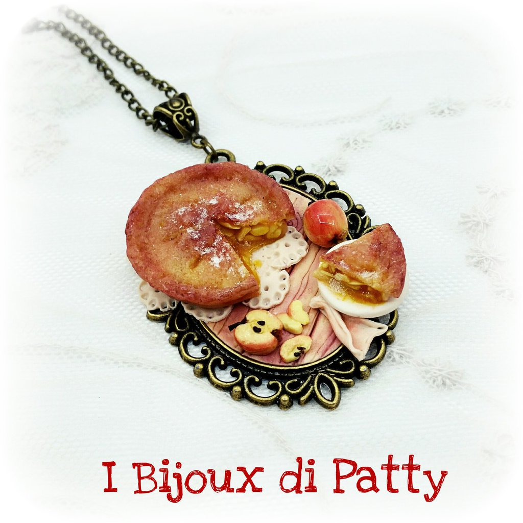 "Collana con cammeo ""torta apple pie"""