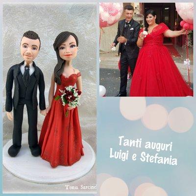 Caketopper sposi personalizzati,  abito rosso