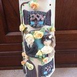 Tegola shabby casa sposi decorata in pasta di Mais