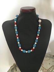 Collana in agata, corallo bambu e perle